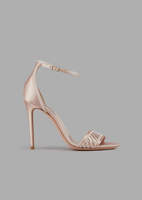Satin sandals with heel and small stud decoration