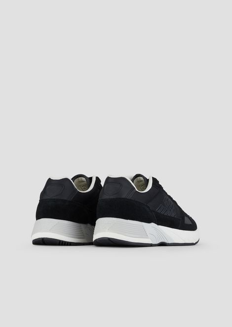 Sneakers in tech fabric and suede with monogram on the side