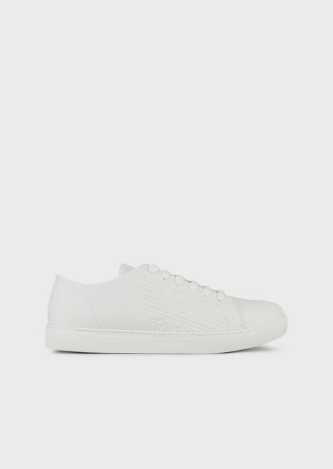 Leather sneakers with embossed logo