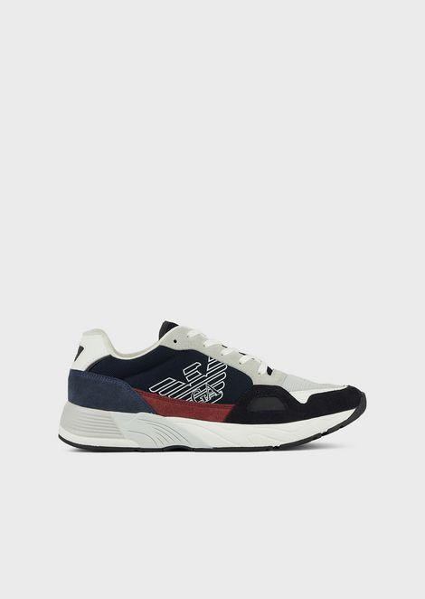Sneakers en tissu technique et daim avec monogramme sur le côté