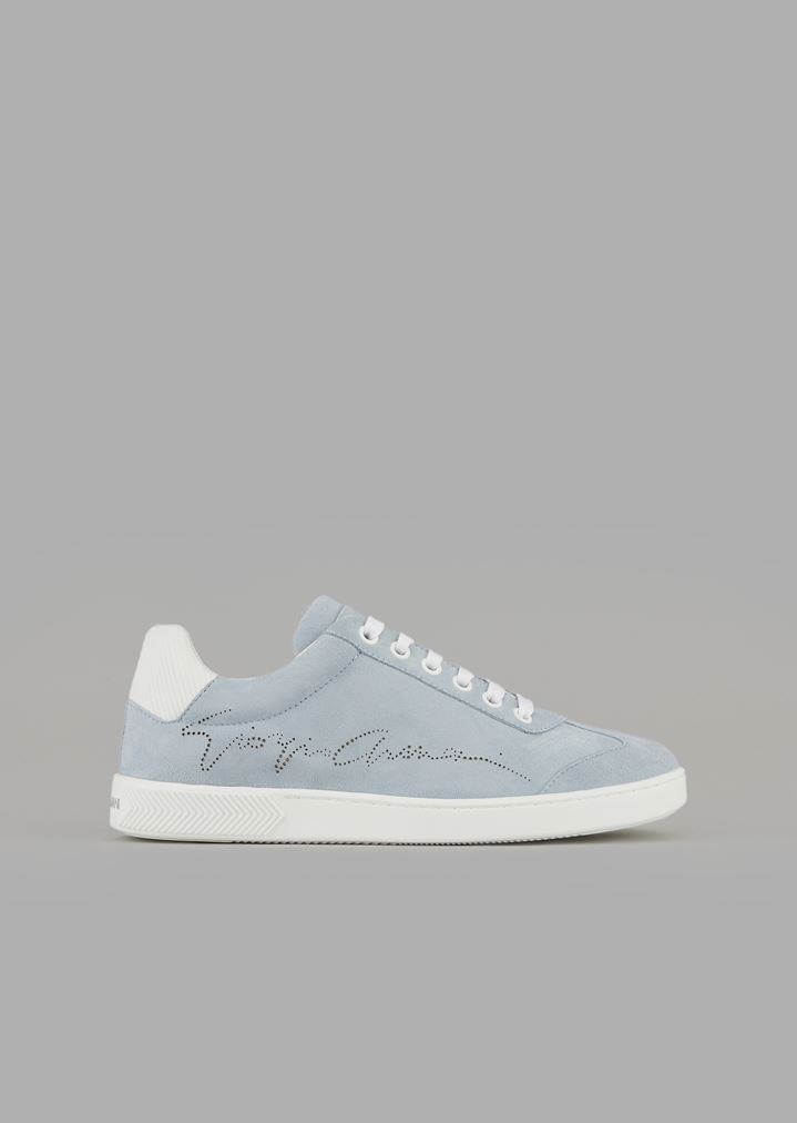 6bcebcf77c Suede sneakers with perforated signature
