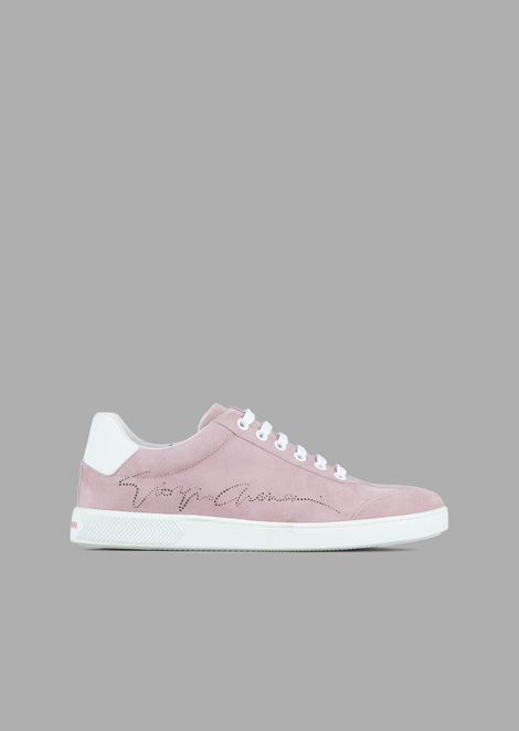 Suede sneakers with perforated signature