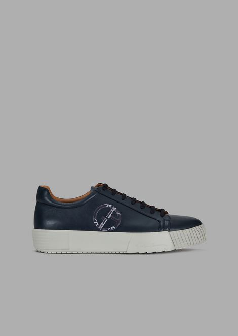 Aniline leather sneakers with logo