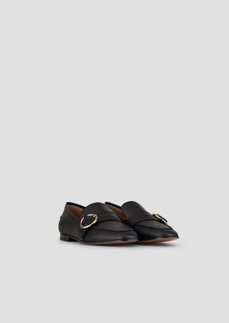 Leather loafers with strap and buckle