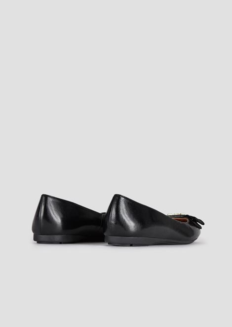 Leather ballet flats with bow and logo appliqué