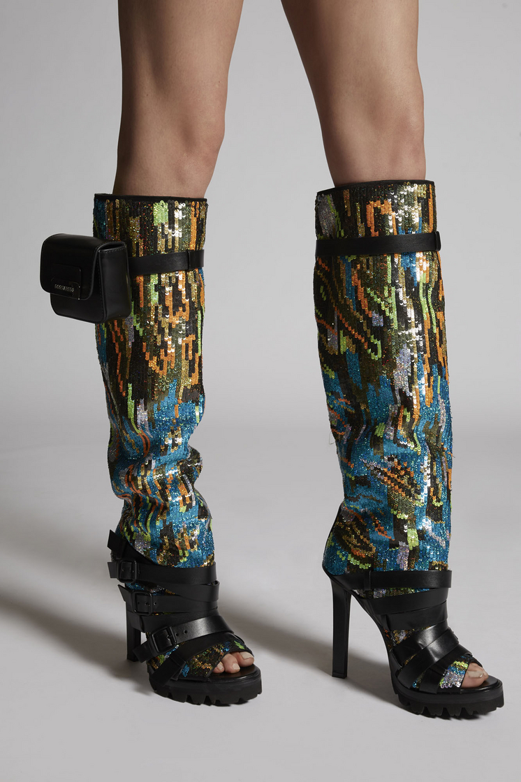 DSQUARED2 Tie And Dye Rock Cross N' Roll Embroidery Boots  Boot Woman