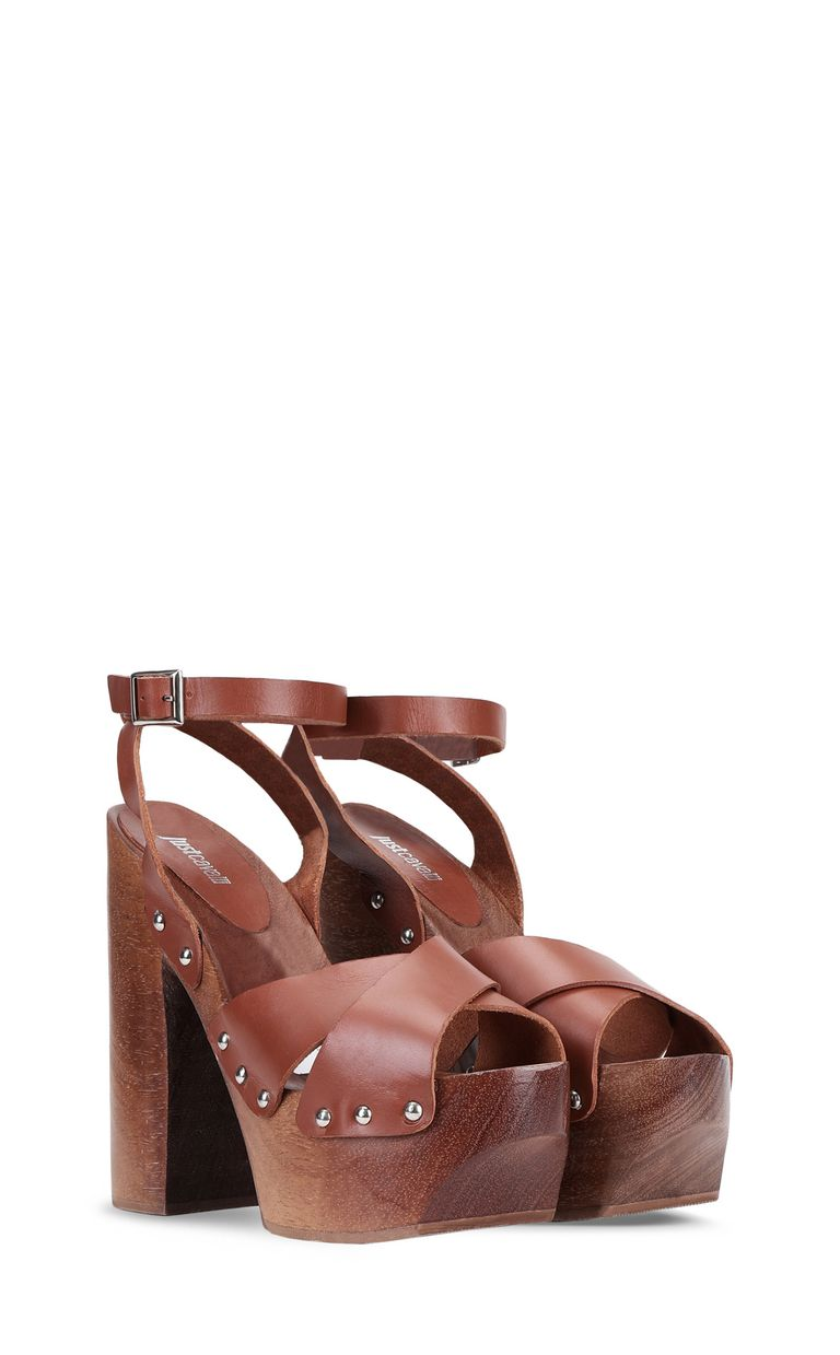 JUST CAVALLI Leather sandals with platform High-heeled sandals Woman r