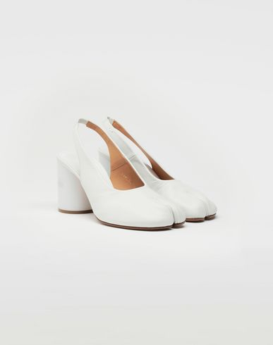 SHOES Tabi hologram slingback pumps White