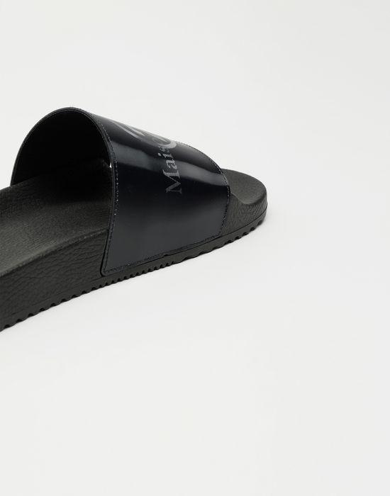 MAISON MARGIELA Hologram logo-print leather slides Sandals [*** pickupInStoreShipping_info ***] a