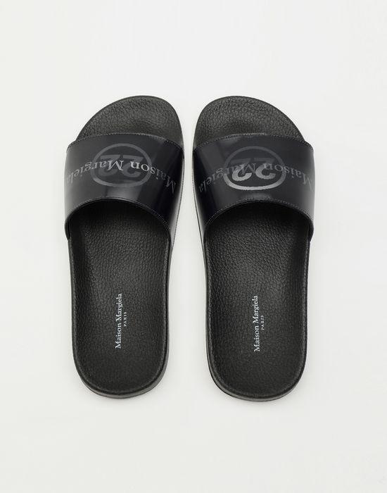 MAISON MARGIELA Hologram logo-print leather slides Sandals [*** pickupInStoreShipping_info ***] d