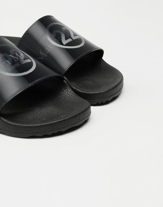 MAISON MARGIELA Hologram logo-print leather slides Sandals [*** pickupInStoreShipping_info ***] e