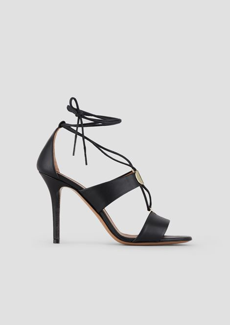 High heel sandals in nappa leather with metallic details