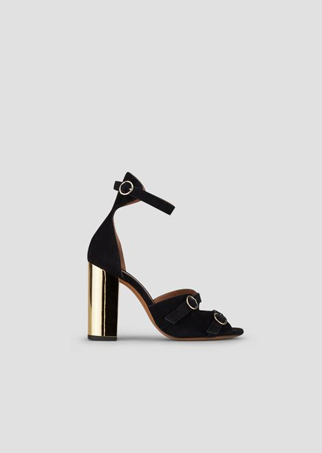 Suede sandals with chrome heel