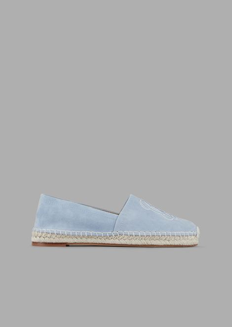 Suede espadrilles with italic logo in tone on tone nappa leather