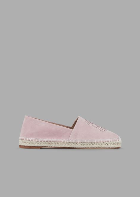 Suede espadrilles with cursive logo in tone-on-tone nappa leather