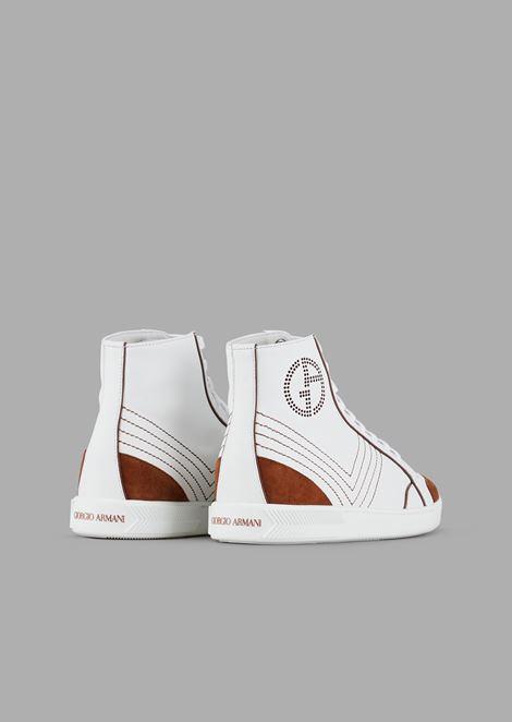 Sneakers high top in pelle con dettagli a contrasto in camoscio