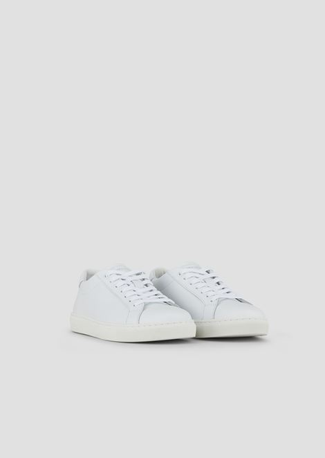 Leather sneakers with decorative stitching