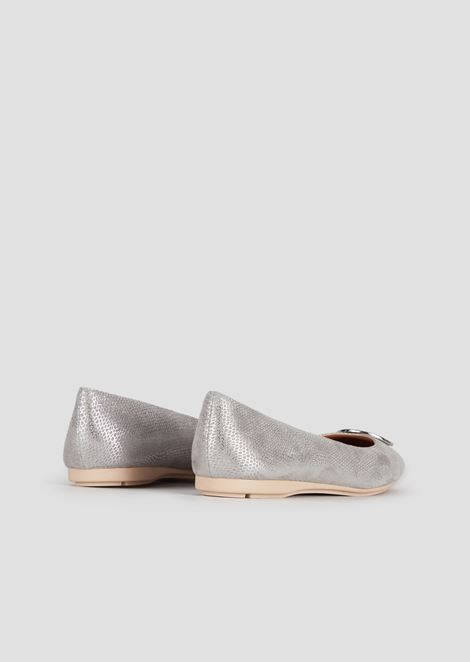 Suede and metal ballerinas with logo medallion
