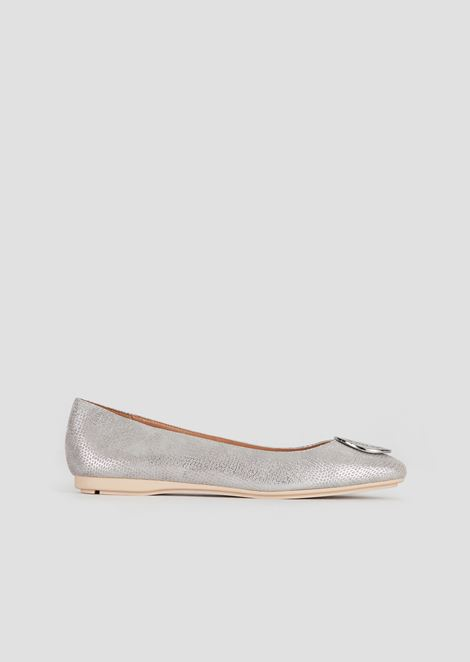 Suede and metal ballet flats with logo medallion