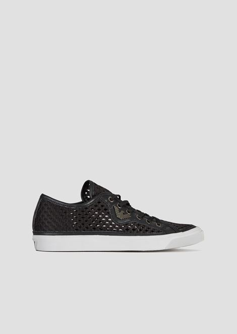 Sneakers in woven, perforated canvas