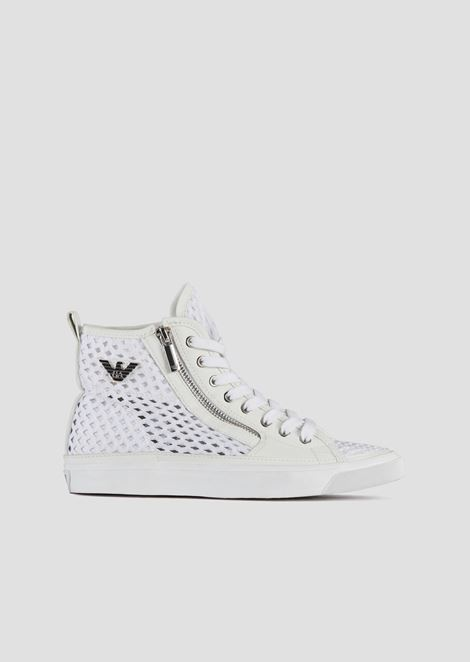 High sneakers with side zip in woven perforated canvas