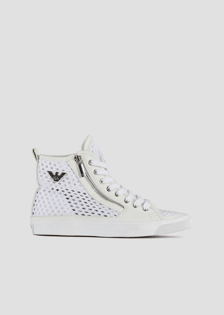 bcd1471baebd High sneakers with side zip in woven perforated canvas