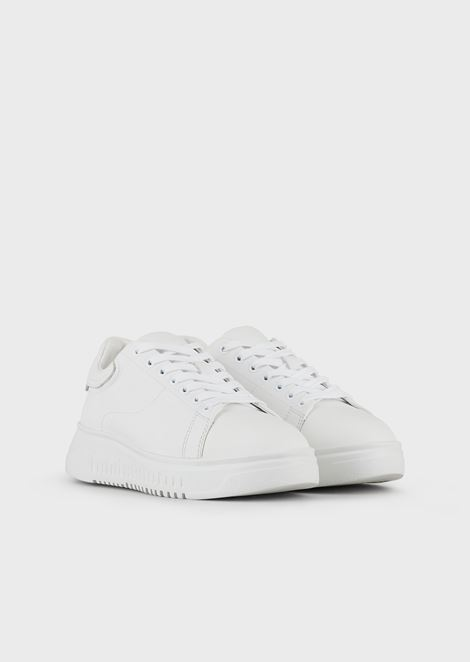 Sneakers in nappa leather with high sole