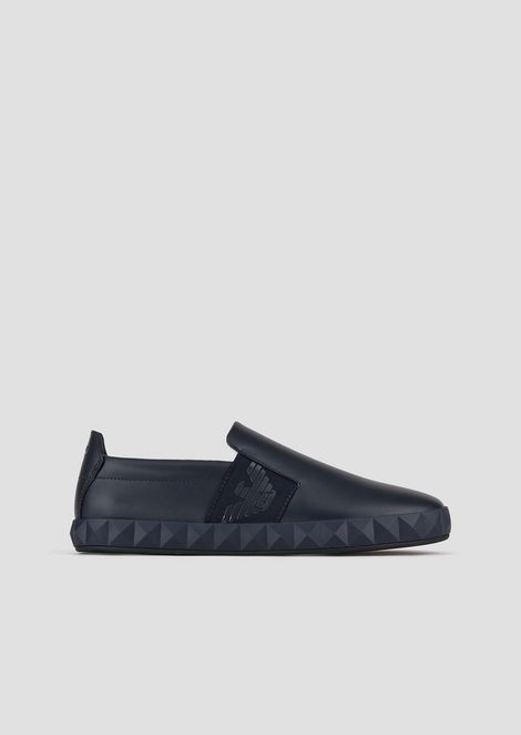 Zapatos sin cordones de piel con logotipo