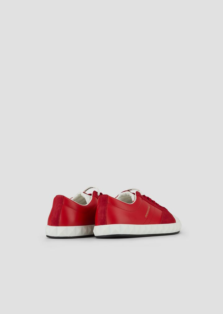 845a2d6c75 Sneakers in soft leather and suede with three-dimensional sole