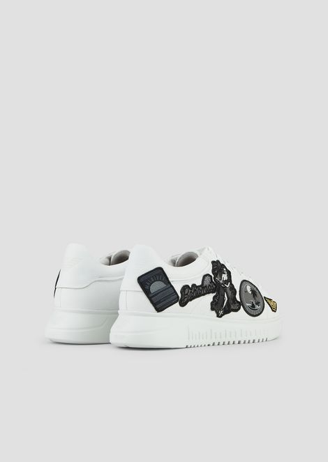 Deerskin leather sneakers with patches and logo laces