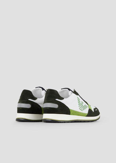 Sneakers de piel de ante y tejido técnico con logotipo