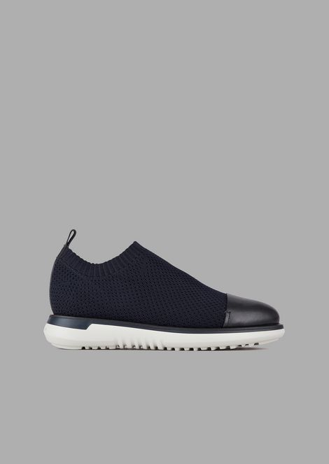 Stretch fabric slip-ons with smooth leather toe