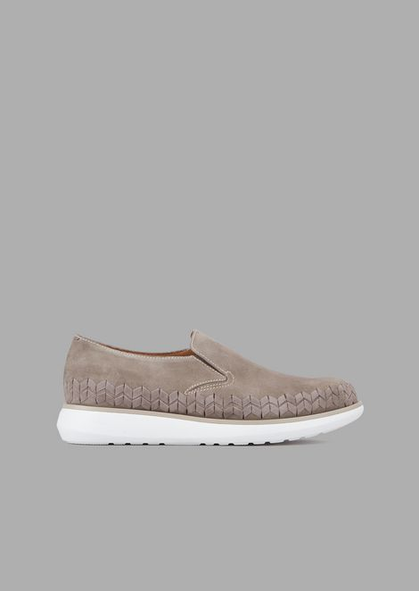 Slip-ons in suede with chevron detail on the side