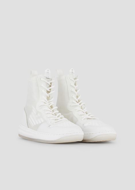High-top sneakers with logo in nappa leather and mesh
