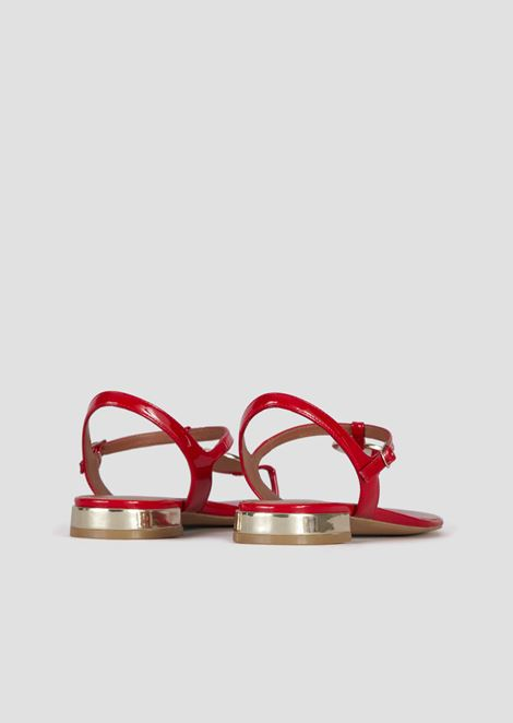 Patent leather sandals with mirrored details and logo medallion