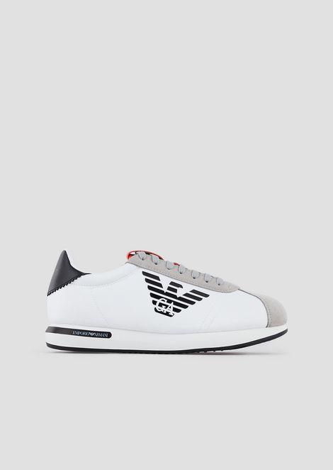 Sneakers in nylon e suede con logo stampato