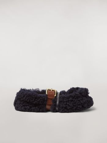 Marni BUCKLE ballerina in blue shearling Woman f