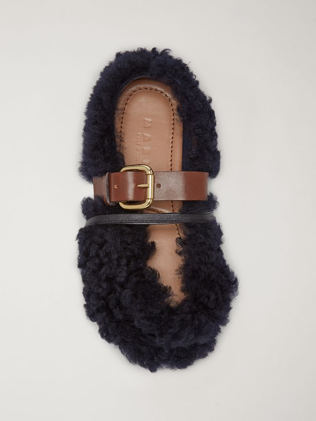 Marni BUCKLE ballerina in blue shearling Woman - 4