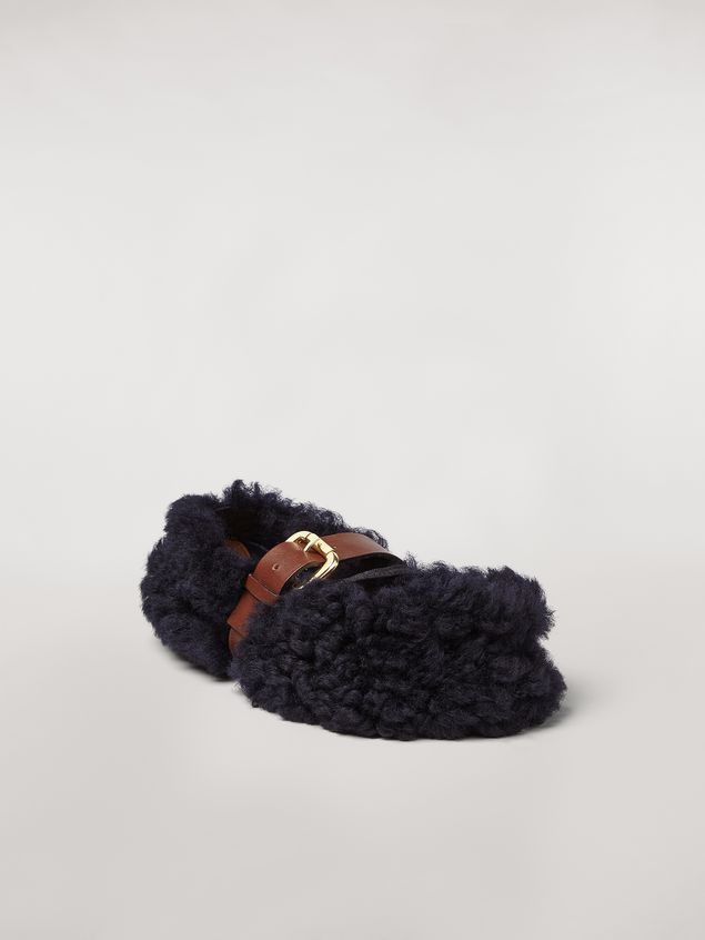 Marni BUCKLE ballerina in blue shearling Woman - 2