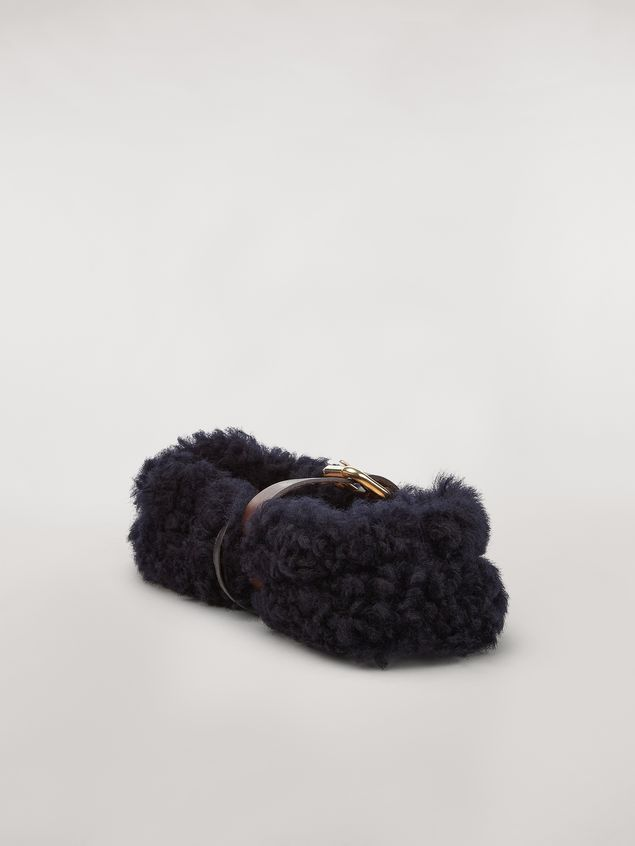 Marni BUCKLE ballerina in blue shearling Woman - 3