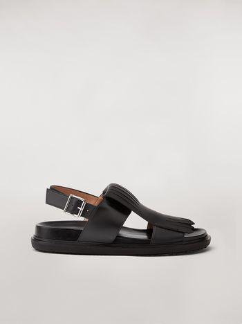 Marni Calfskin fussbett sandal with fringe Man