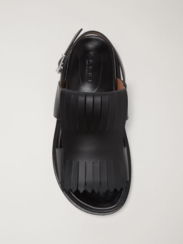 Marni Calfskin fussbett sandal with fringes Man - 4