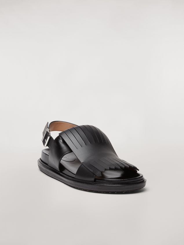 Marni Calfskin fussbett sandal with fringes Man - 2