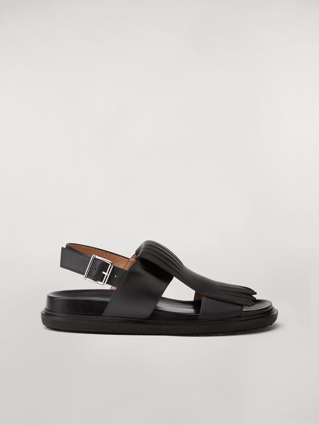 Marni Calfskin fussbett sandal with fringes Man - 1