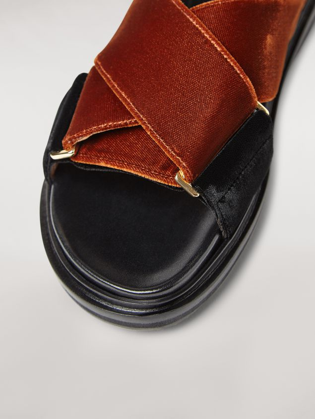 Marni  Criss-cross fussbett in brown and black velvet Woman - 5