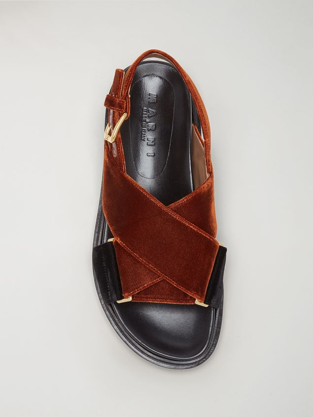 Marni  Criss-cross fussbett in brown and black velvet Woman - 4