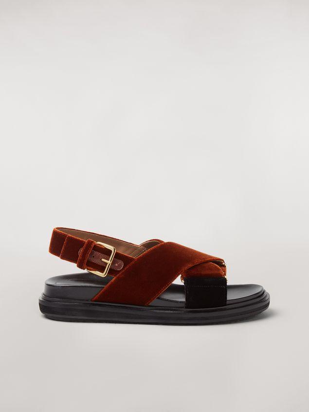 Marni  Criss-cross fussbett in brown and black velvet Woman - 1