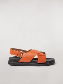 Marni  Criss-cross fussbett in orange leather Woman