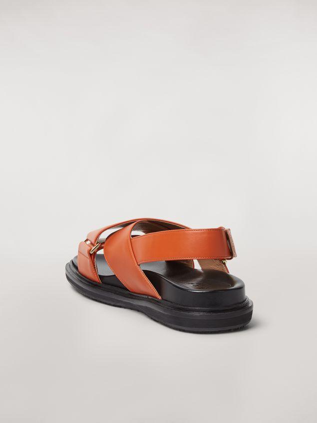 Marni  Criss-cross fussbett in orange leather Woman
