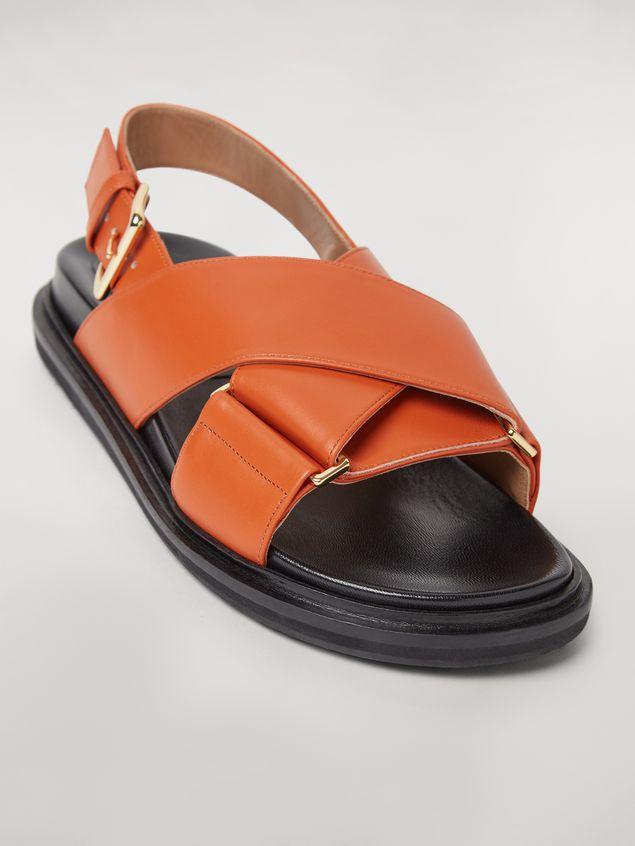 Marni  Criss-cross fussbett in orange leather Woman - 5